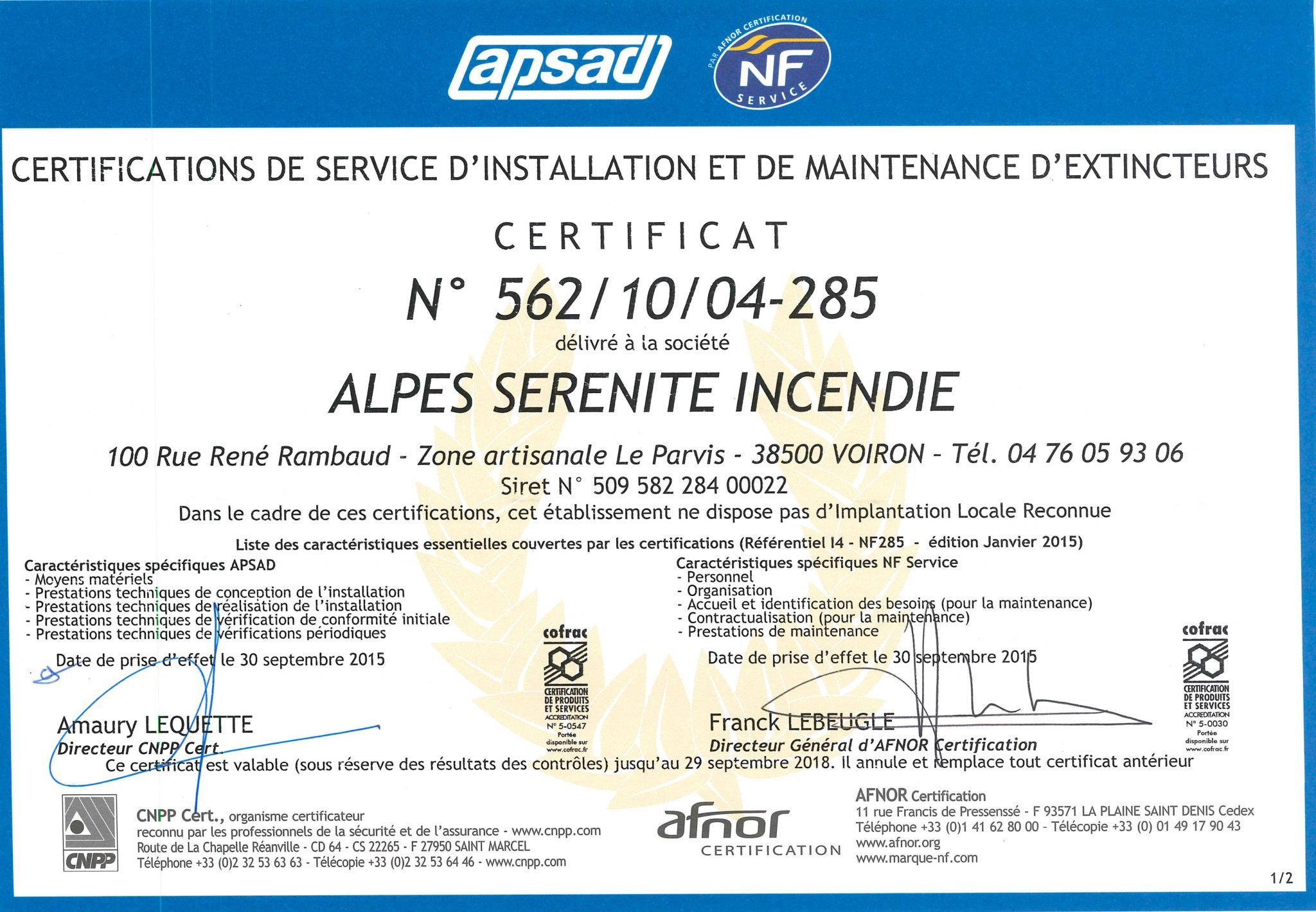 asi2 - Nos certifications